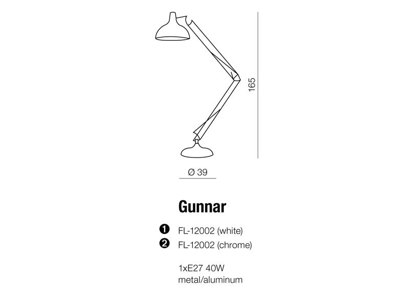 AZzardo AZ-1027 Gunnar állólámpa / AZzardo AZ-FL-12002-CH /