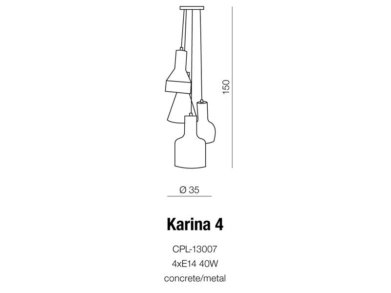 AZzardo AZ-1030 Karina 4 izzós függeszték / AZzardo AZ-CPL-13007 /
