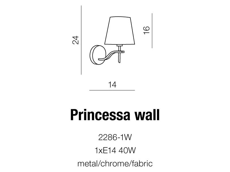 AZzardo AZ-0723 Princessa falilámpa / AZzardo AZ-2286-1W /