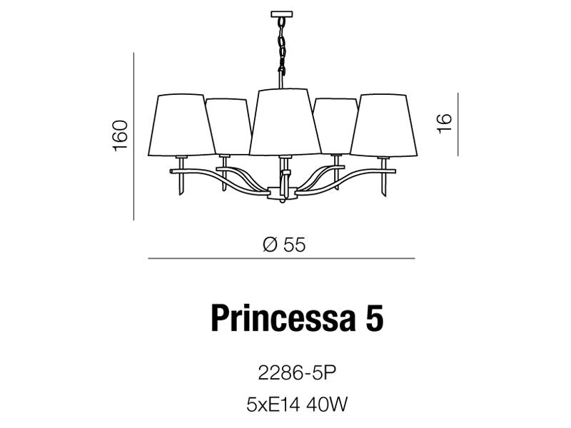 AZzardo AZ-0724 Princessa 5 izzós csillár / AZzardo AZ-2286-5P /