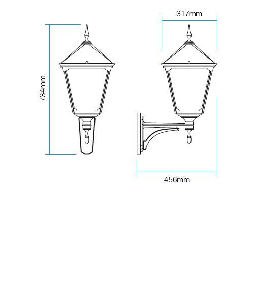 Redo Heidelberg 9225 kültéri klasszikus fali kar / Redo / lámpák