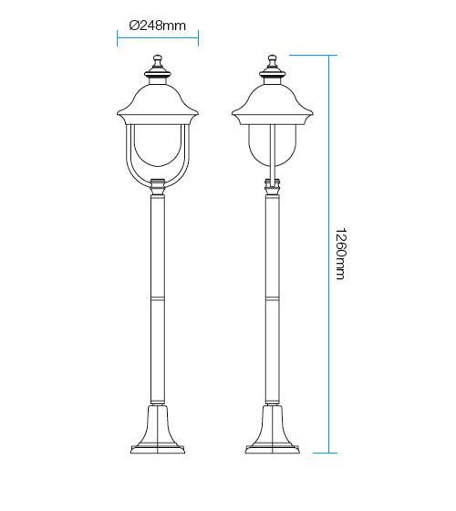 Redo Verona 9277 kültéri klasszikus állólámpa / Redo / lámpák