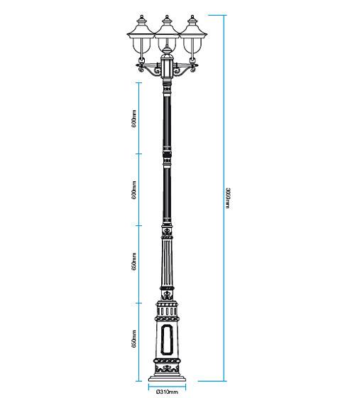 Redo Verona 9273 kültéri klasszikus állólámpa / Redo / lámpák