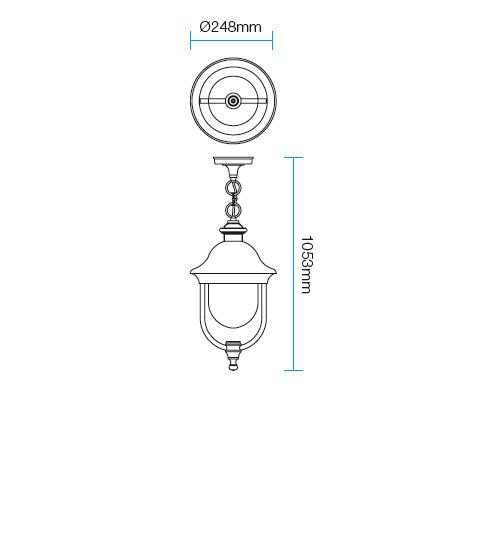 Redo Verona 9279 kültéri klasszikus 1 ágú függeszték / Redo / lámpák