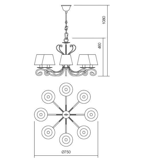 Incanti Ema 02-598 rusztikus 8 ágú csillár  lámpák
