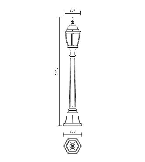 Redo Sevilla 9608 klasszikus kültéri állólámpa / Redo / lámpák