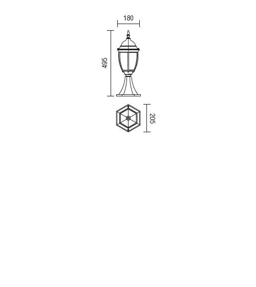 Redo Sevilla 9606 klasszikus kültéri állólámpa / Redo / lámpák