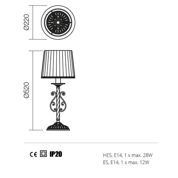 Incanti Milena 02-732 klasszikus asztali lámpa