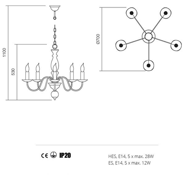 Incanti Yvette 02-767 klasszikus csillár