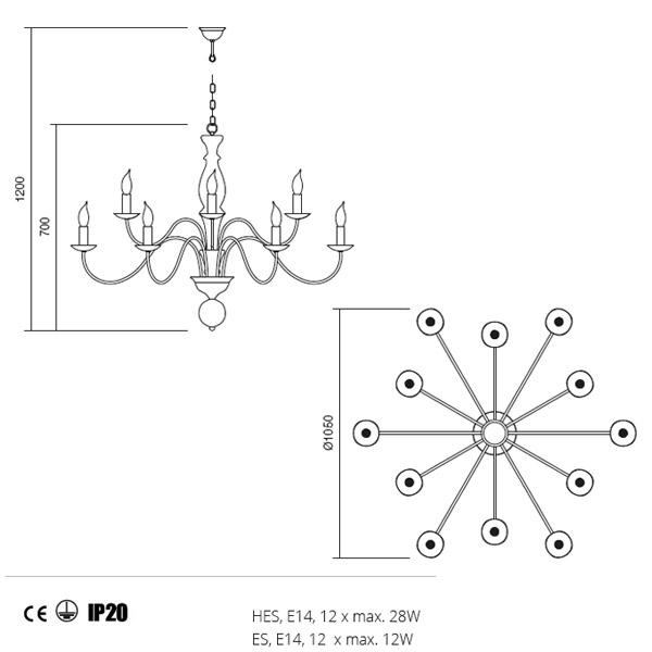 Incanti Yvette 02-773 klasszikus csillár