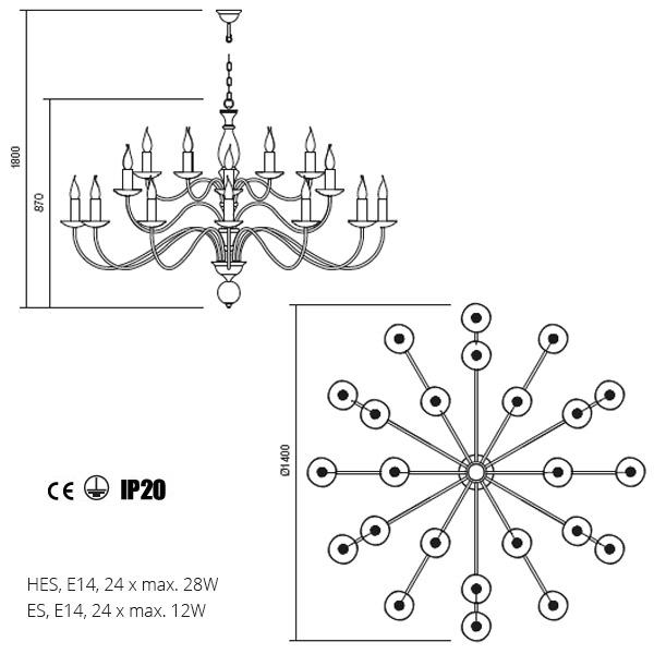 Incanti Yvette 02-791 klasszikus csillár