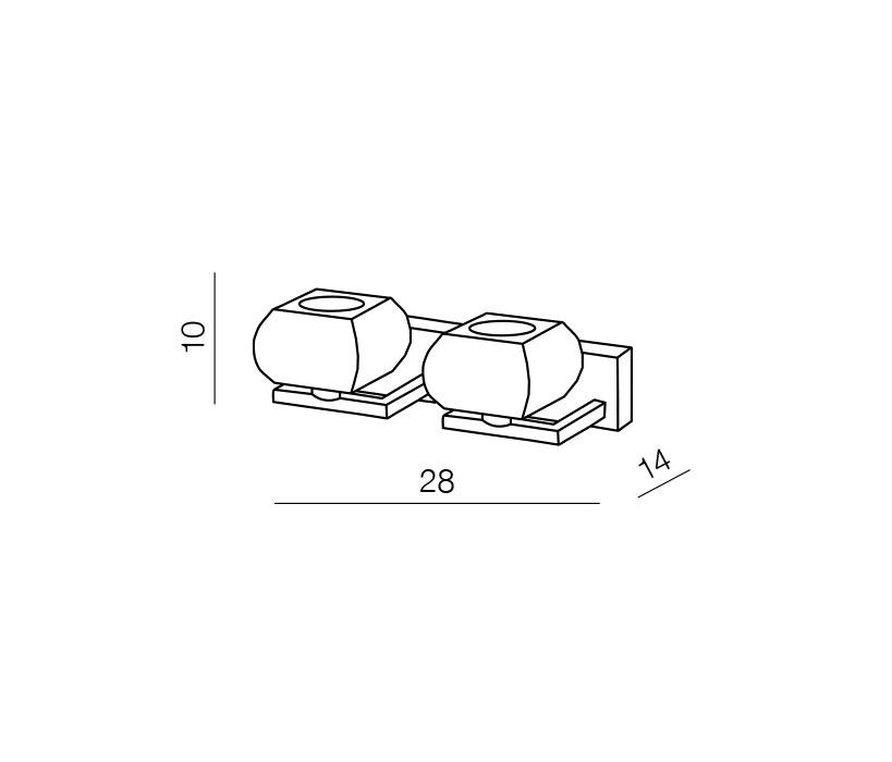 Azzardo AZ-0491 Rubic 2 izzós falikar / Azzardo AZ-1798-2W / lámpa