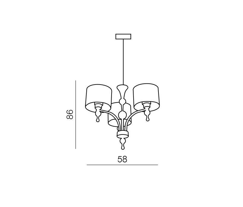 Azzardo AZ-0498 Impress 3 izzós csillár / Azzardo AZ-1976-3PBK / lámpa