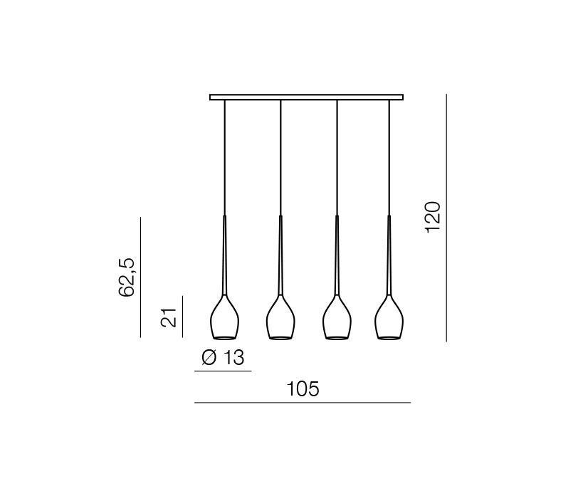 AZzardo AZ-0100 Izza 4 izzós függeszték / Azzardo AZ-MD1288B-4BL / lámpa