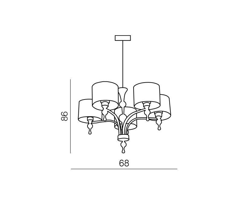 Azzardo AZ-0499 Impress 5 izzós csillár / Azzardo AZ-1976-5PBK / lámpa