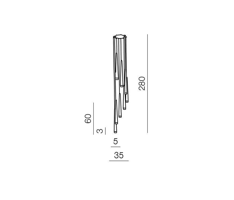 AZzardo AZ-0257 Stylo 8 izzós függeszték / Azzardo AZ-MD1220A-8CH / lámpa
