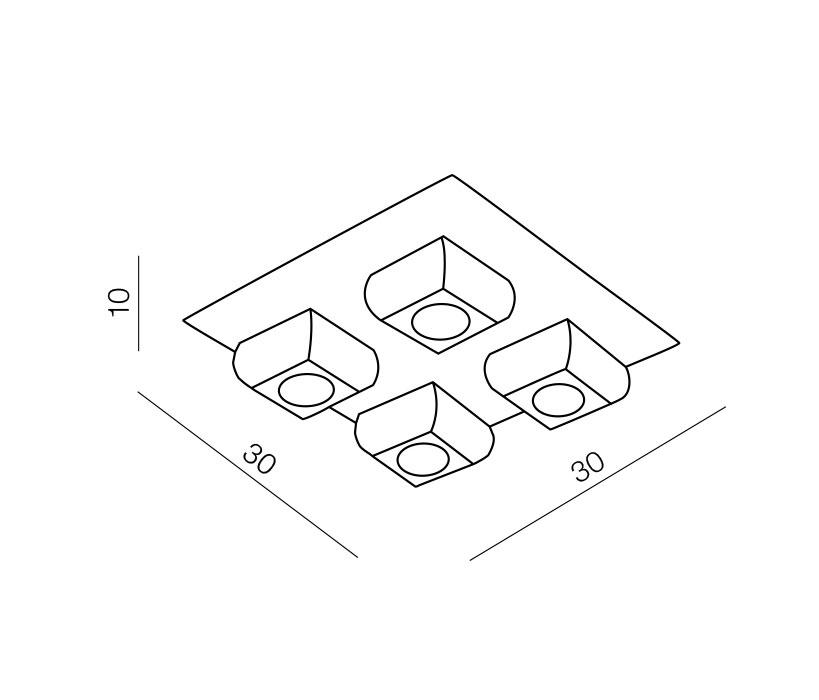 Azzardo AZ-0492 Rubic 4 izzós mennyezeti lámpa / Azzardo AZ-1798-4X / lámpa