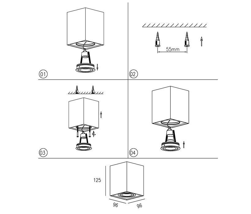 Zuma  Quadro mennyezeti lámpa / Zuma / lámpa ZU-89200-BK