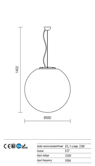 Redo Baloo 9976 kültéri modern 1 ágú dekorációs függeszték / Redo / lámpák
