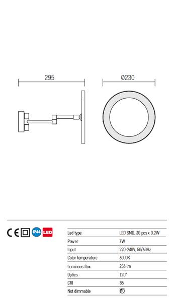Redo Bob 01-968 modern fürdőszobai fali kar / Redo / lámpák