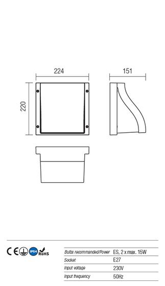 Redo Book 9891 modern kültéri fali lámpa / Redo / lámpák