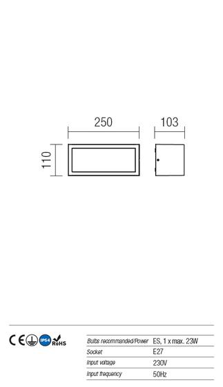 Redo Brick 9896 kültéri modern fali / mennyezeti lámpa / Redo / lámpák