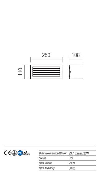 Redo Brick 9898 kültéri modern fali lámpa / Redo / lámpák
