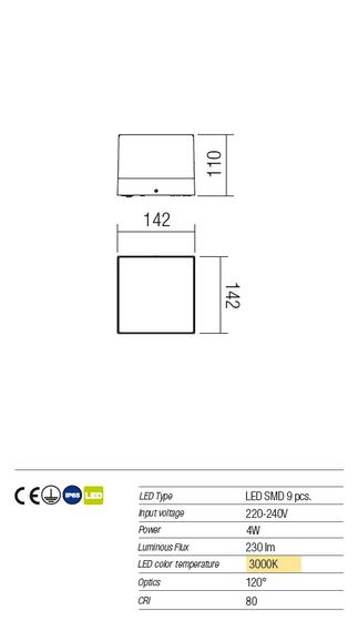 Redo Cube 9442 kültéri modern fali / mennyezeti / Redo / lámpák