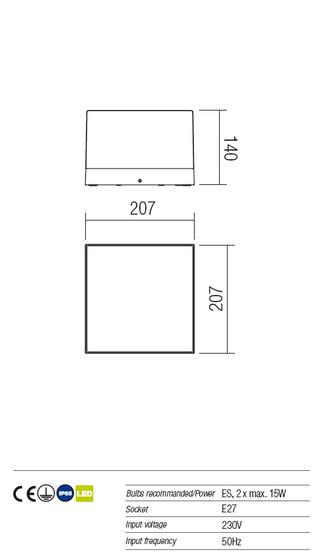Redo Cube 9444 kültéri modern fali / mennyezeti / Redo / lámpák