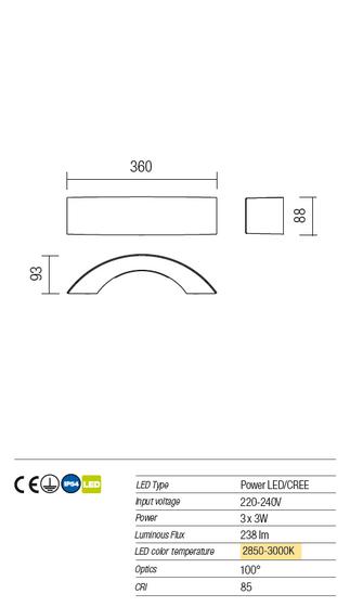 Redo Eclipse 9902 modern kültéri led fali lámpa / Redo / lámpák