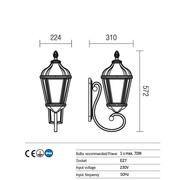 Redo Essen 9656 kültéri klasszikus fali lámpa / Redo / lámpák