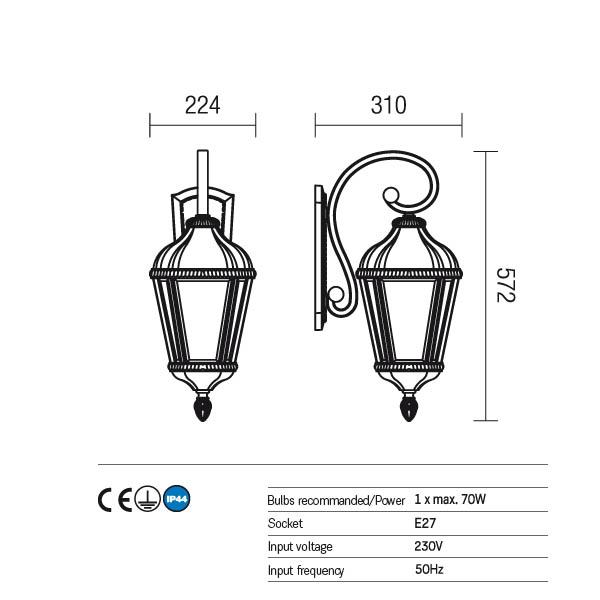 Redo Essen 9657 kültéri klasszikus fali lámpa / Redo / lámpák
