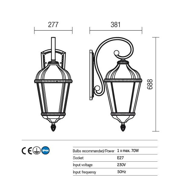 Redo Essen 9658 kültéri klasszikus fali lámpa / Redo / lámpák