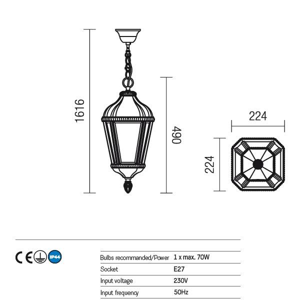 Redo Essen 9659 kültéri klasszikus 1 ágú függeszték / Redo / lámpák