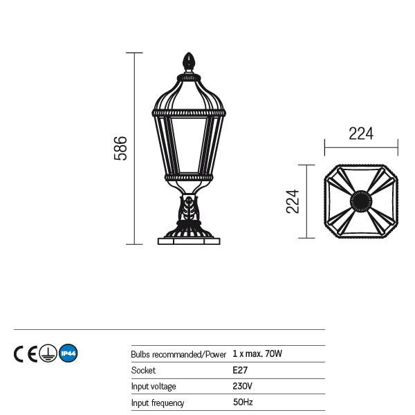 Redo Essen 9660 kültéri klasszikus állólámpa / Redo / lámpák