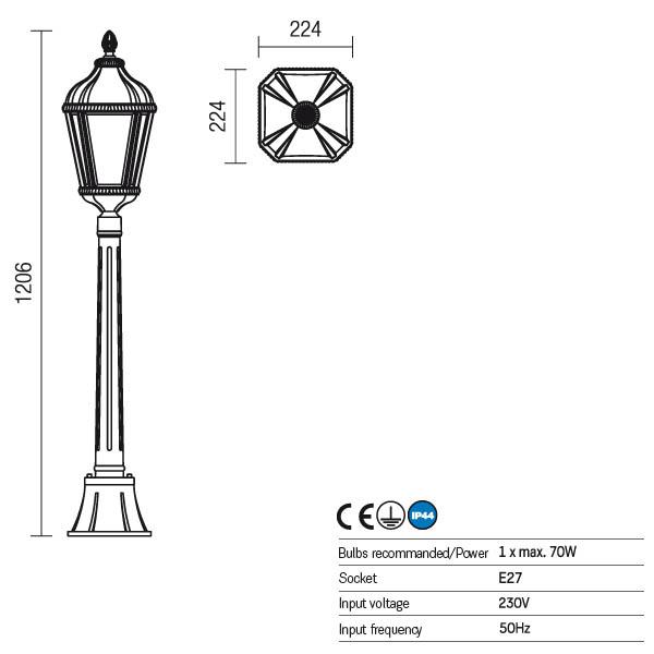 Redo Essen 9661 kültéri klasszikus állólámpa / Redo / lámpák