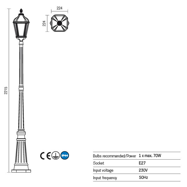 Redo Essen 9662 kültéri klasszikus kandelláber / Redo / lámpák