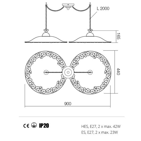 Incanti Lea  02-804+CF40 rusztikus függeszték
