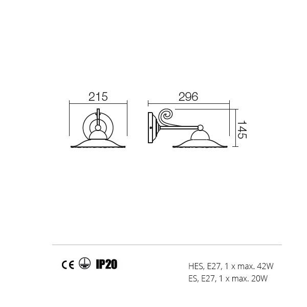 Incanti Lea 02-800+CF21 rusztikus falikar