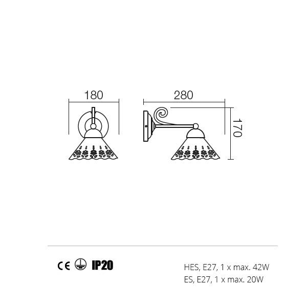 Incanti Lea 02-800+CT18 rusztikus falikar