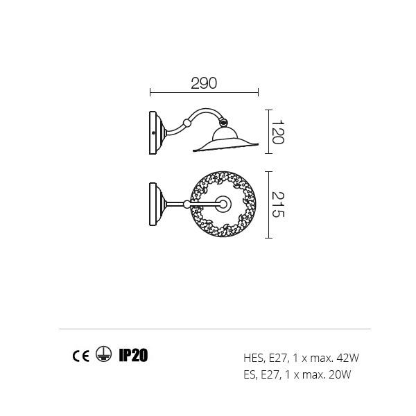 Incanti Lea 02-801+CF21 rusztikus falikar