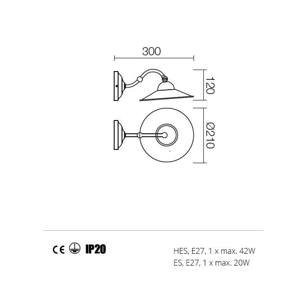 Incanti Lea 02-801+M21AB rusztikus falikar