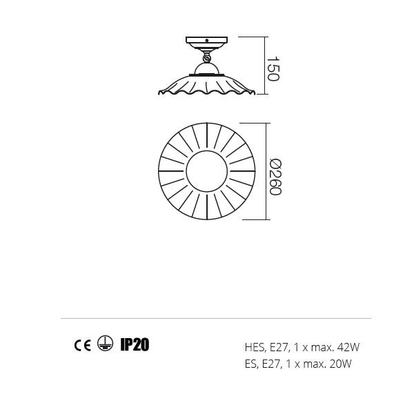 Incanti Lea 02-802+CC26 rusztikus mennyezeti lámpa