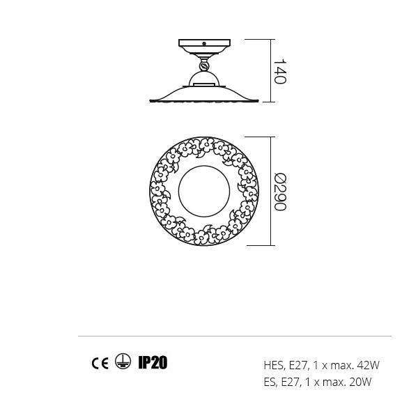 Incanti Lea 02-802+CF29 rusztikus mennyezeti lámpa