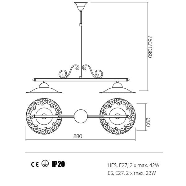 Incanti Lea 02-805+CF29 rusztikus függeszték