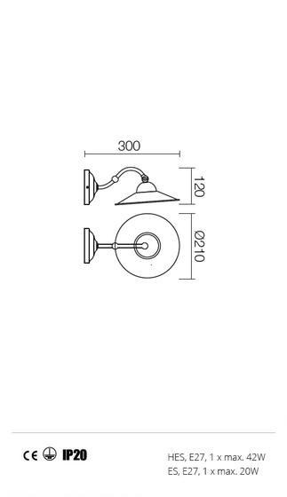 Incanti Lea 02-901+M21BR rusztikus falikar