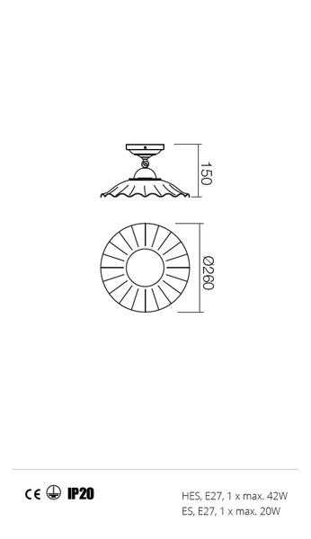 Incanti Lea 02-902+CC26 rusztikus mennyezeti lámpa