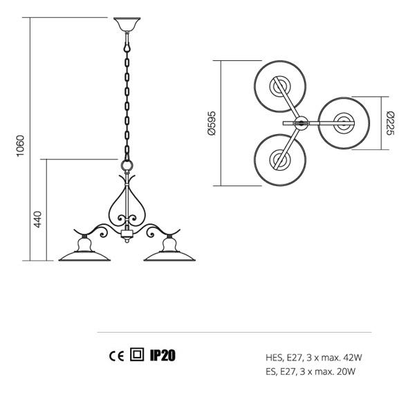 Incanti Lena  02-760 rusztikus csillár