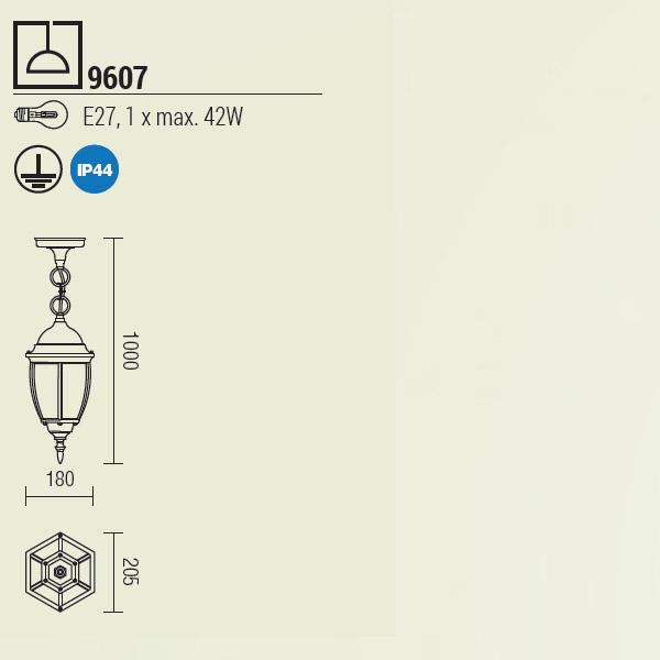 Redo Sevilla 9607 klasszikus kültéri 1 ágú függeszték / Redo / lámpák