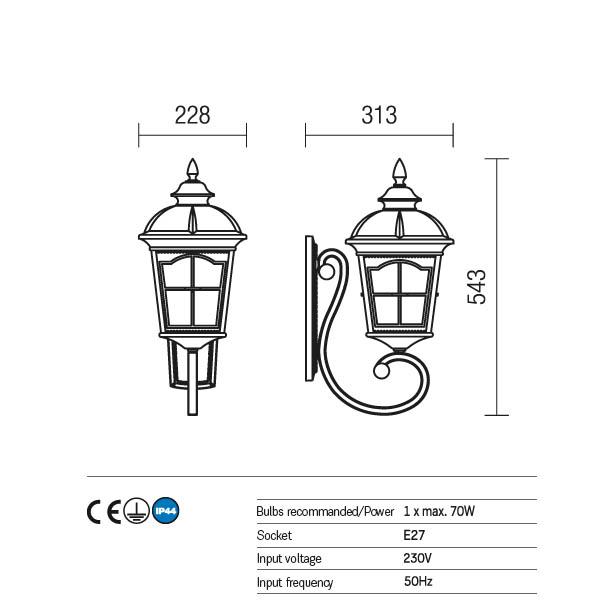 Redo York 9646 kültéri klasszikus fali lámpa / Redo / lámpák